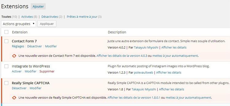 Extensions sous WordPress