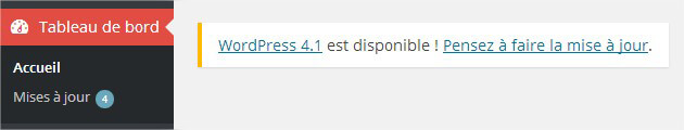 Notification WordPress pour la mise à jour