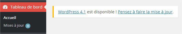 Notification WordPress pour la mise à jour