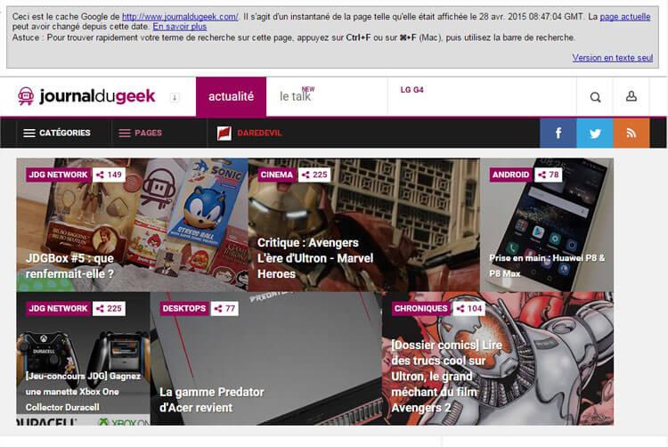 SEO On-Page - Page en cache avec images