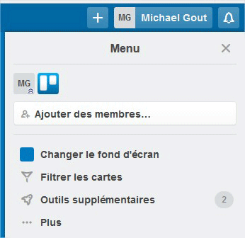 Menu d'options Trello